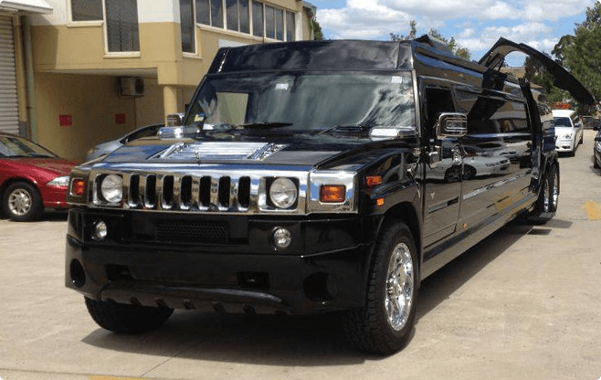 Warsaw Limousines - Hummer H2 Super Stretch Black - Front View